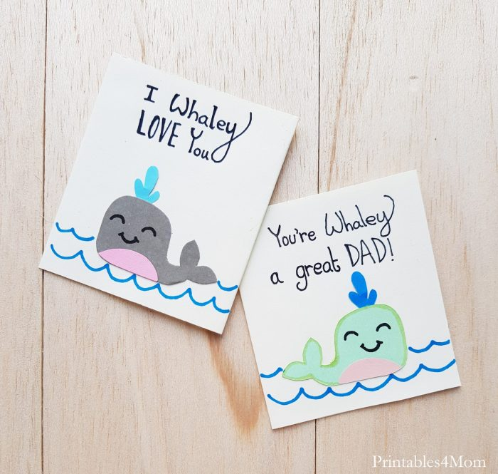 Father's Day Whale Card Craft Free Printable Gift