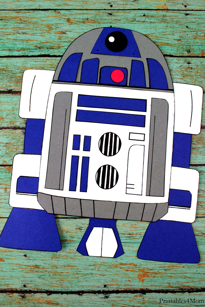 R2D2 Print and Paste Craft Kids Craft with free printable template