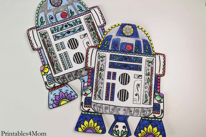 Star Wars R2D2 Sugar Skull Printable Free Coloring Page