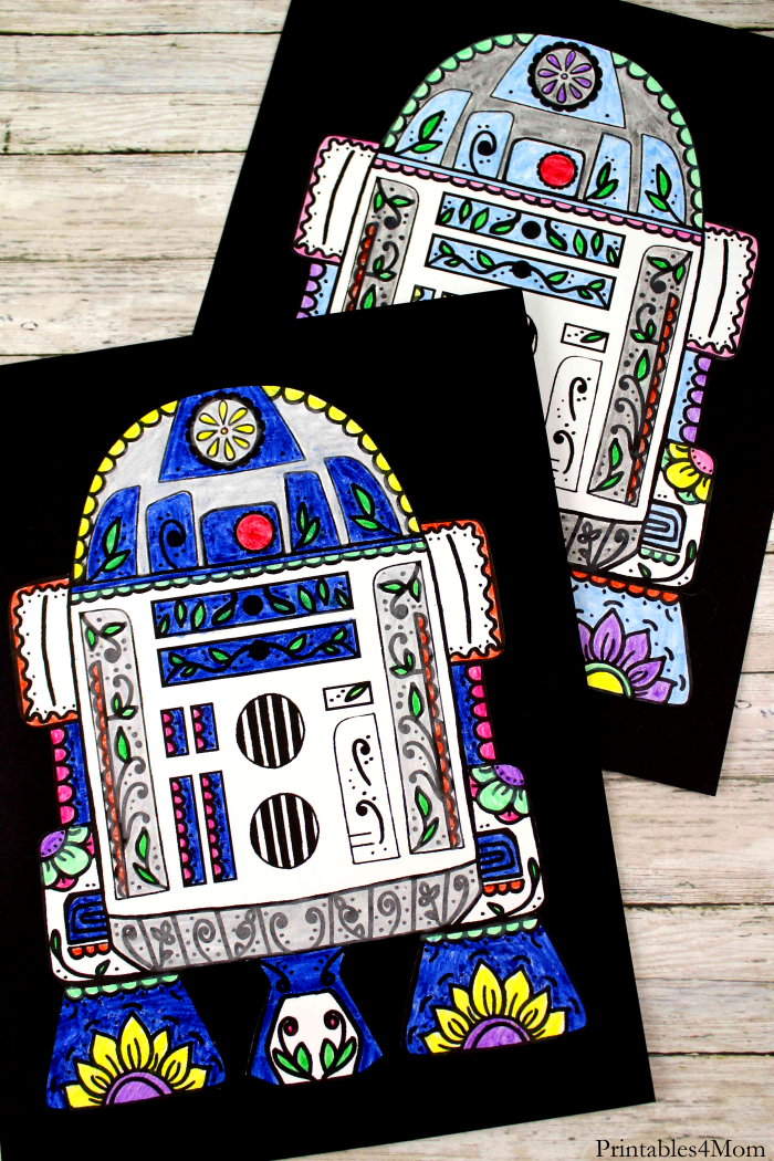 Star Wars R2D2 Sugar Skull Printable Free Craft