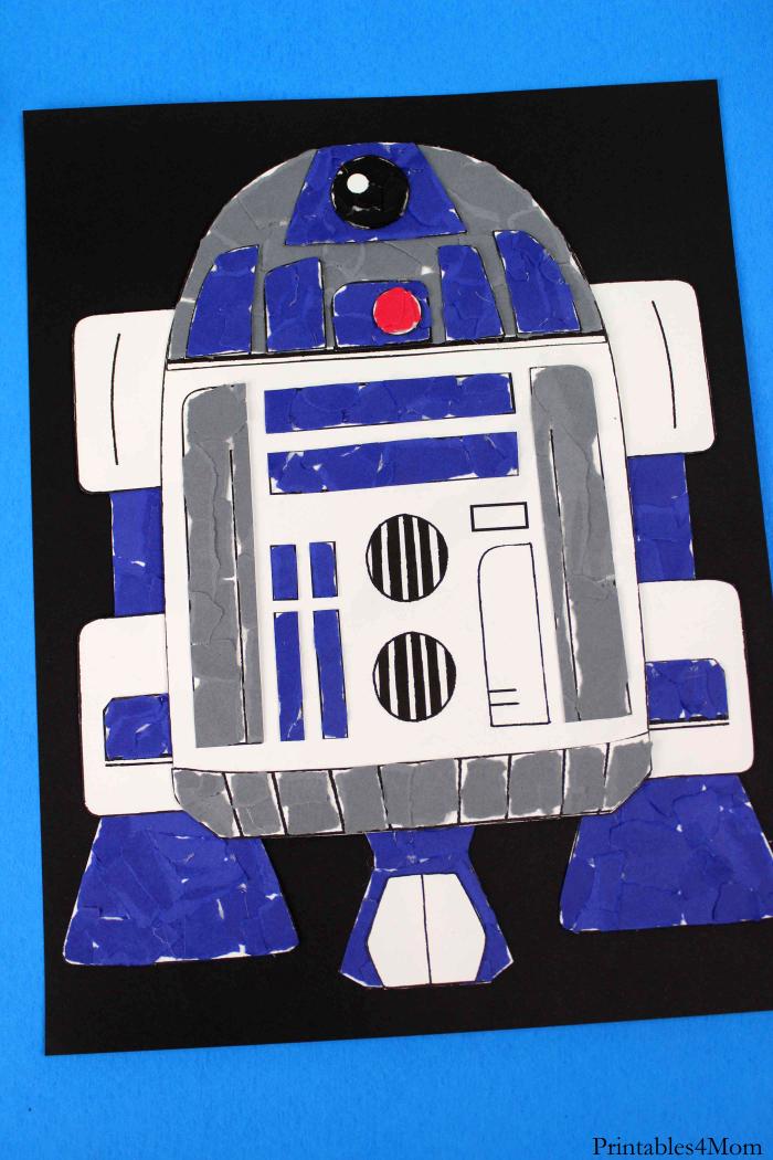 Star Wars R2D2 Torn Paper Craft Free Printable