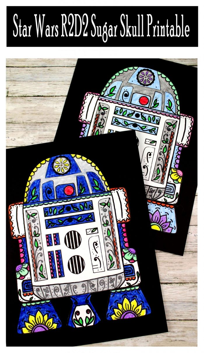 Star Wars R2D2 Sugar Skull Printable Free Template