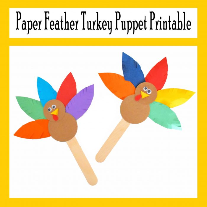 Paper Feather Turkey Puppet Printable