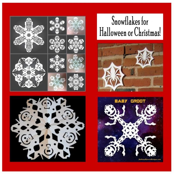 Free Printable Unique Snowflake Patterns and Templates for Halloween and Christmas